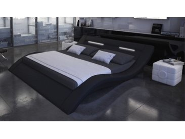 Lit design 160x200 cm noir avec lumière - Ozark - Avec sommier (