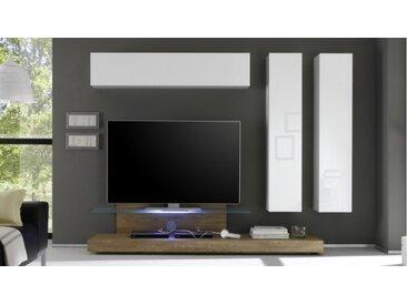 Ensemble meuble TV design avec LEDs - Upton - Bois Miel