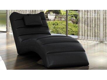 Chaise longue fauteuil relax simili cuir - Huw - Noir 09