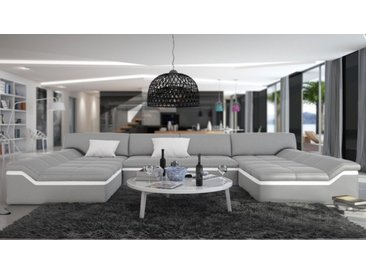 Canapé cuir design panoramique - Dorog - Gris clair 903 / Lisere
