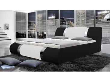 Lit 160x200 cm simili cuir noir et blanc - Spencer -  Sans sommie
