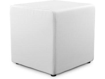 Pouf moderne cuir simili - Pearl - Blanc