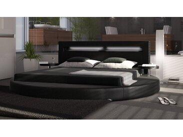 Lit rond simili cuir noir 200x200 cm LED - Uster - Avec sommier (