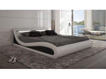 Lit design blanc et noir 140x190 cm LED - Aspen -  Sans sommier