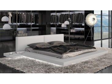 Lit design 160x200 cm blanc avec LED - Kiara -  Sans sommier