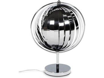Petite lampe moderne à lamelles - Moon JR - Chrome