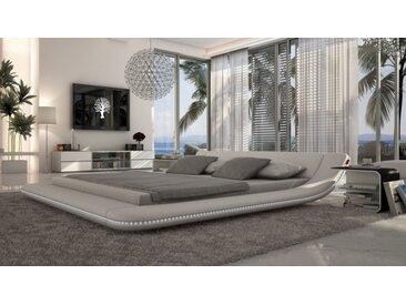 Lit design LED simili cuir blanc 140x190 cm - Apex - Avec sommier