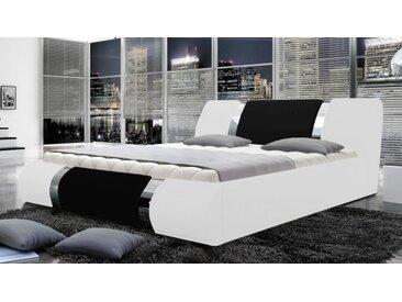 Lit simili cuir blanc et noir 160x200 cm - Spencer - Avec sommier