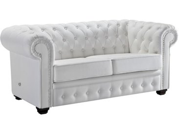 Canapé 2 places design Chesterfield - Lerwick - Blanc 901