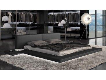Lit design 160x200 cm noir avec LED - Kiara - Avec sommier (+ 99.