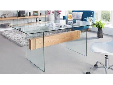 Bureau droit moderne en verre avec bois - June