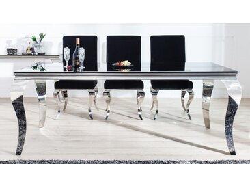 Table à manger baroque rectangulaire noire - Zita - Longueur 200