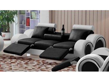Canapé design 3 places relax en cuir - Carlson - Assise Noir 902