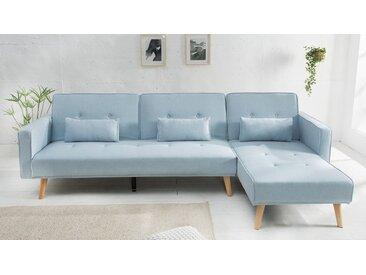 Canapé d'angle en tissu convertible - Narvik - Tissu Bleu clair