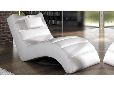 Chaise longue fauteuil relax simili cuir - Huw - Blanc 01