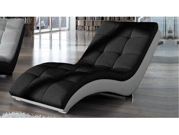 Chaise longue relax tissu et simili cuir - Kan - Assise Noir T3 /