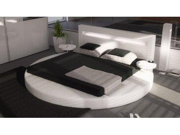 Lit rond 140x190 cm blanc avec éclairage - Uster - Avec sommier