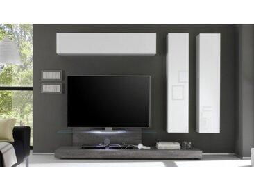 Ensemble meuble TV design avec LEDs - Upton - Bois Gris