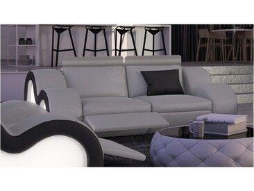 Canapé 2 places design lumineux en cuir - Atco - Gris clair 903