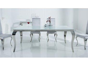 Table de salle à manger baroque blanche - Zita - Longueur 180 cm