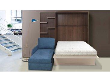 Lit escamotable 160x200 cm canapé d'angle - Joss - Taupe