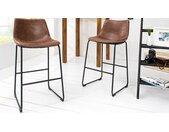 Chaise de bar moderne tissu microfibre - Sergio - Marron
