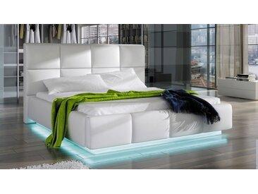 Lit simili blanc 160x200 cm avec LED - Winston -  Sans sommier