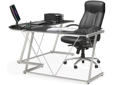 Grand bureau d'angle design en verre - Calypso