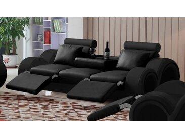 Canapé design 3 places relax en cuir - Carlson - Noir 902