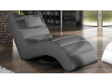 Chaise longue fauteuil relax simili cuir - Huw - Gris foncé 12