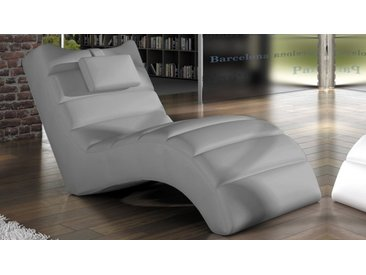 Chaise longue fauteuil relax simili cuir - Huw - Gris 06