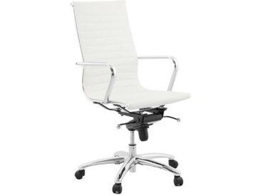 Fauteuil de bureau design en simili blanc - Enzo