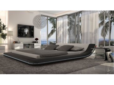 Lit moderne 160x200 cm blanc et noir LED - Apex - Avec sommier (+