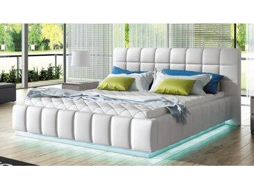 Lit blanc lumineux 160x200 cm simili - Etor -  Sans sommier