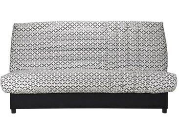 Banquette clic clac 3 places matelas Bultex - Tissu blanc et noir - L 192 x P 95 cm - BEIJA