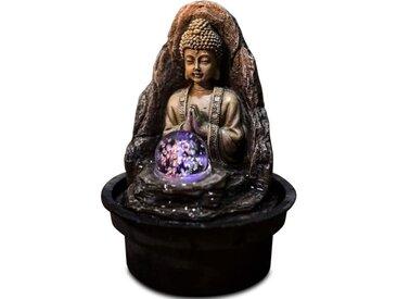ZEN Fontaine d'intérieur bouddha avec boule de verre en rotation Peace - Marron