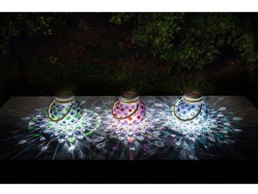 GALIX Lot de 3 décorations de table à énergie solaire - 4 Lm - 3 coloris : vert, rouge et bleu - H 22-13,8 x Ø 15 cm