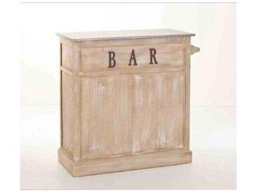 Meuble bar bois classique patiné zinc 109x46x106cm SANDRA