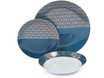 ABS T1904310-18X service de table en porcelaine 18 pcs forme coupe - Bleu artdeco