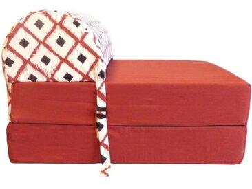 HIBA Chauffeuse 1 place Boho - Tissu Rouge - Style ethnique - L 58 cm