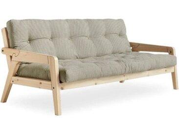 Canapé convertible futon GRAB pin naturel tissu lin couchage 130 cm. beige Coton Inside75