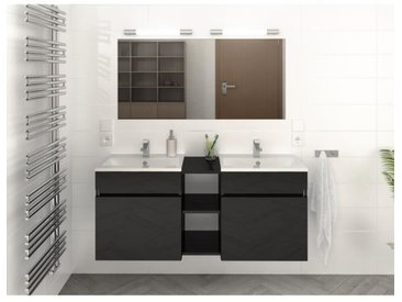 LUNA Ensemble salle de bain double vasque L 120 cm - Noir brillant