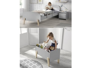 KIDDY Chambre enfant complète style scandinave en bois pin massif et MDF laqué gris cool - l 90 x L 200 cm