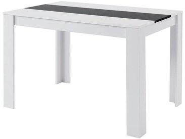 DAMIA Table à manger de 4 à 6 personnes style contemporain blanc et noir mat - L 120 x l 80 cm