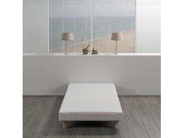 Sommier tapissier à lattes 90 x 190 - Bois massif blanc + pieds bois verni clair - DEKO DREAM Rakenne
