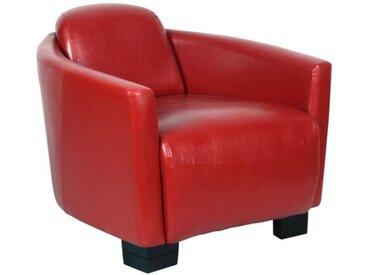 AVIATEUR Fauteuil Club Cigare - Simili rouge - vintage - L 79 x P 87 cm