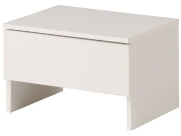 EDEN Chevet - Contemporain - Décor blanc et blanc brillant - L 44 cm