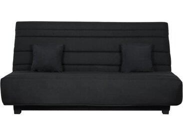 Banquette Clic clac Dunlopillo - Tissu Pearl Noir + 2 coussins Noir - L 194 x P 98 x H 102 cm - ALEX