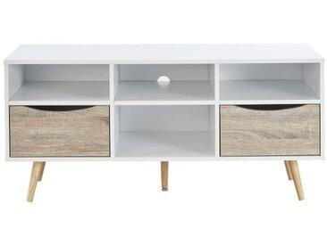 BELA Meuble TV scandinave blanc et décor chêne mat + pieds en bois hévéa - L 116 cm