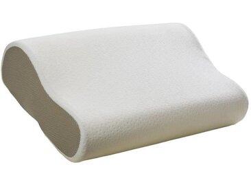 BULTEX Oreiller Ergonomic à mémoire de forme 3D déhoussable 52x33 cm blanc et gris taupe